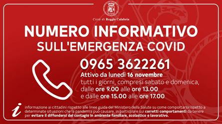 Il Comune di Reggio Calabria attiva un numero informativo sull'emergenza Covid